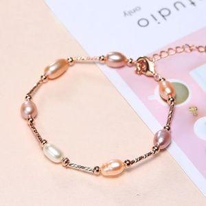 MILAN Natural Pearl Bracelet Rose Gold Multi Color